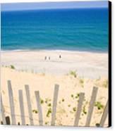 beach fence and ocean Cape Cod Canvas Print by Matt Suess