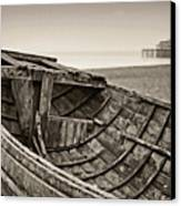 Beached At Brighton In Sepia Canvas Print by Tony Grider