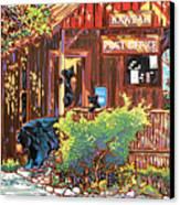 Bear Post Canvas Print by Nadi Spencer