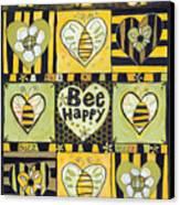 Bee Happy Canvas Print by Jen Norton