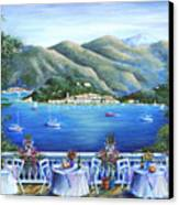 Bellagio From The Cafe Canvas Print by Marilyn Dunlap