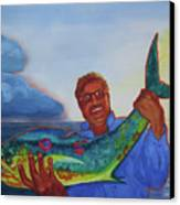 Ben And The Dolphin Fish Canvas Print by Kathy Braud