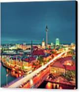 Berlin City At Night Canvas Print by Matthias Haker Photography