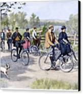 Bicycle Tourists, 1896 Canvas Print by Granger