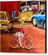 Biking To The Orange Julep Canvas Print by Carole Spandau