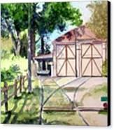 Birney Trolley Barn Canvas Print by Tom Riggs