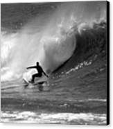 Black And White Surfer Canvas Print by Paul Topp