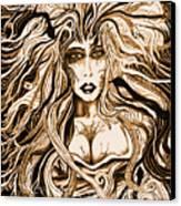 Blackmedusa-sepia Canvas Print by Steve Farr