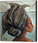 Blue And Black Bead Headdress Canvas Print by Jacque Hudson