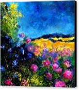 Blue And Pink Flowers Canvas Print by Pol Ledent