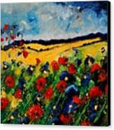Blue And Red Poppies 45 Canvas Print by Pol Ledent