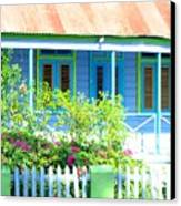 Blue Chattel House Canvas Print by Barbara Marcus