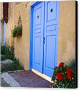 Blue Door Of An Adobe Building Taos New Mexico Canvas Print by George Oze