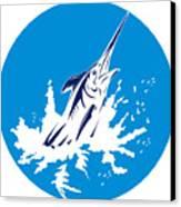 Blue Marlin Circle Canvas Print by Aloysius Patrimonio