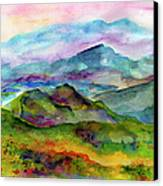 Blue Ridge Mountains Georgia Landscape  Watercolor  Canvas Print by Ginette Callaway