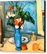 Blue Vase By Paul Cezanne Canvas Print by Pg Reproductions