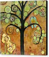 Bluebirds In Paradise Tree Canvas Print by Blenda Studio