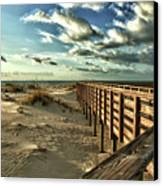 Boardwalk On The Beach Canvas Print by Michael Thomas