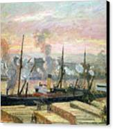 Boats Unloading Wood Canvas Print by Camille Pissarro