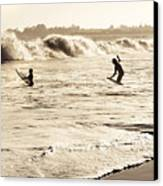 Body Surfing Family Canvas Print by Marilyn Hunt
