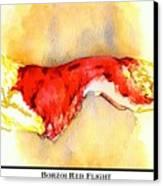 Borzoi Red Flight Canvas Print by Kathleen Sepulveda