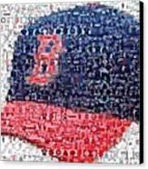 Boston Red Sox Cap Mosaic Canvas Print by Paul Van Scott