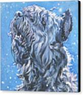 Bouvier Des Flandres Snow Canvas Print by Lee Ann Shepard