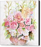 Bowl Full Of Roses Canvas Print by Arline Wagner