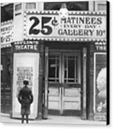 Boy In Front Of A Movie Theater Showing Canvas Print by Everett