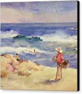 Boy On The Sand Canvas Print by Joaquin Sorolla