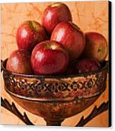 Brass Bowl With Fuji Apples Canvas Print by Garry Gay