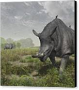 Brontotherium Wander The Lush Late Canvas Print by Walter Myers
