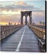 Brooklyn Bridge At Sunrise Canvas Print by Anne Strickland Fine Art Photography