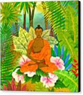 Buddha In The Jungle Canvas Print by Jennifer Baird