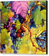 Butterfly And Grapes Canvas Print by Peggy Wilson