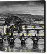Bw Prague Bridges Canvas Print by Yuriy  Shevchuk