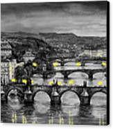 Bw Prague Bridges Canvas Print by Yuriy  Shevchuk