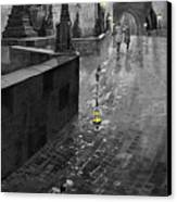 Bw Prague Charles Bridge 01 Canvas Print by Yuriy  Shevchuk