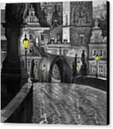 Bw Prague Charles Bridge 03 Canvas Print by Yuriy  Shevchuk