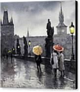 Bw Prague Charles Bridge 05 Canvas Print by Yuriy  Shevchuk