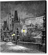 Bw Prague Charles Bridge 06 Canvas Print by Yuriy  Shevchuk