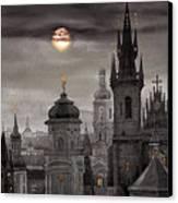 Bw Prague City Of Hundres Spiers Canvas Print by Yuriy  Shevchuk