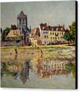 By The River At Vernon Canvas Print by Claude Monet