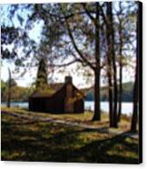 Cabin By The Lake Canvas Print by Sandy Keeton