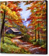 Cabin In The Woods Canvas Print by David Lloyd Glover