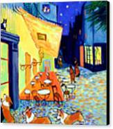 Cafe Terrace At Night - After Van Gogh With Corgis Canvas Print by Lyn Cook