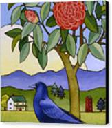 Camellia And Crow Canvas Print by Stacey Neumiller