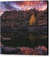 Candle Lit Lake Canvas Print by Peter Coskun