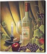 Candlelight Wine And Grapes Canvas Print by Diana Miller