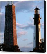 Cape Henry Lighthouses In Virginia Canvas Print by Skip Willits